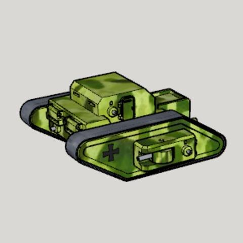 Télécharger fichier 3D gratuit WWI Allemand Fictional Rhomboid RC Tank RC, Imura_Industry_FR
