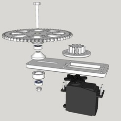 Free Servo pan reduction gear set 3D model, dasaki