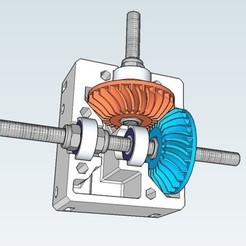 Free 3D file Nema 17 right angle gearbox with spiral bevel gears, dasaki