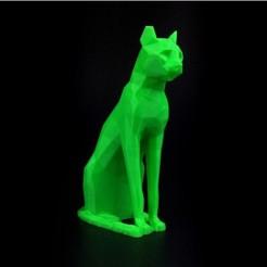 Fichier STL gratuit Sculpture basse poly égyptienne pour chat, 8ran