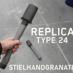 Free 3d print files Replica Stielhandgranate, DragonflyFabrication