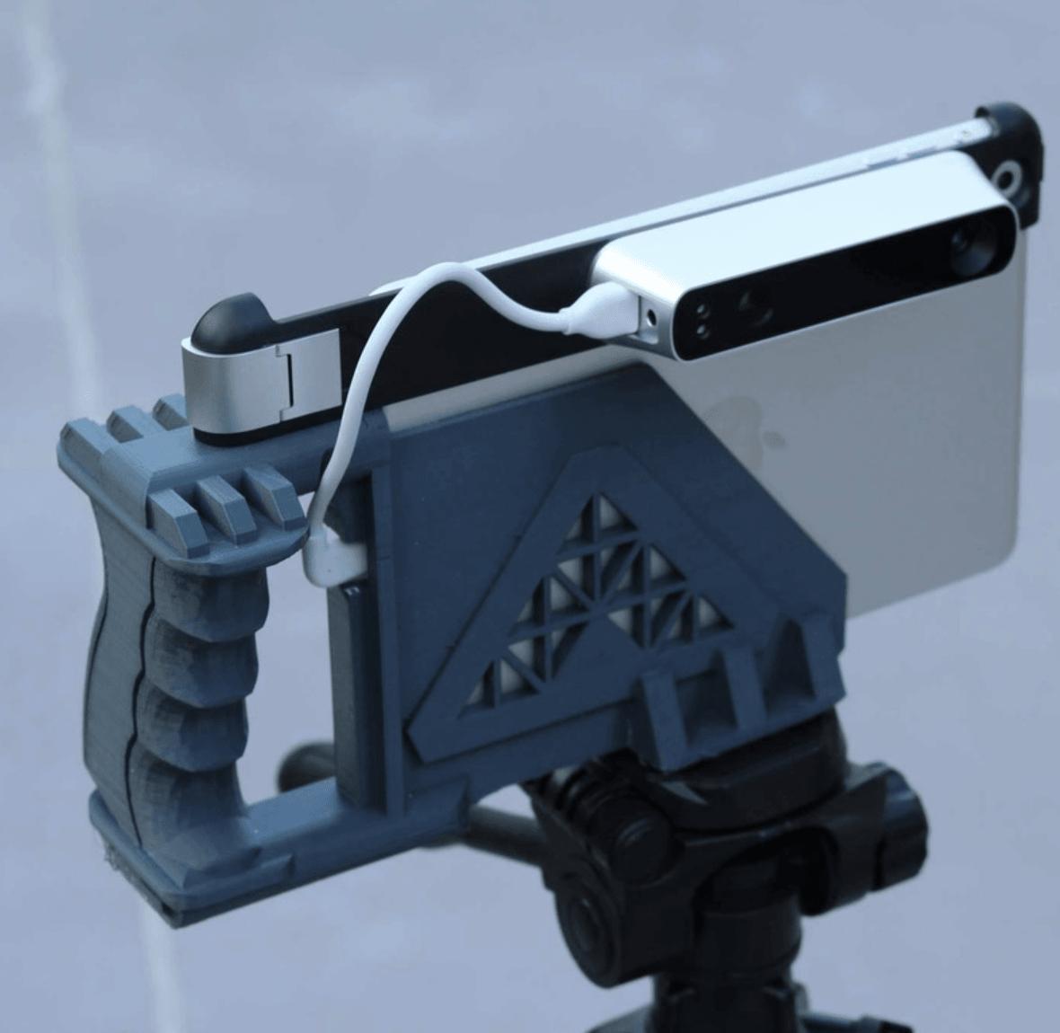 Capture d'écran 2018-04-09 à 15.02.26.png Download free STL file Structure Sensor Tripod/Handle Mount • Object to 3D print, DragonflyFabrication