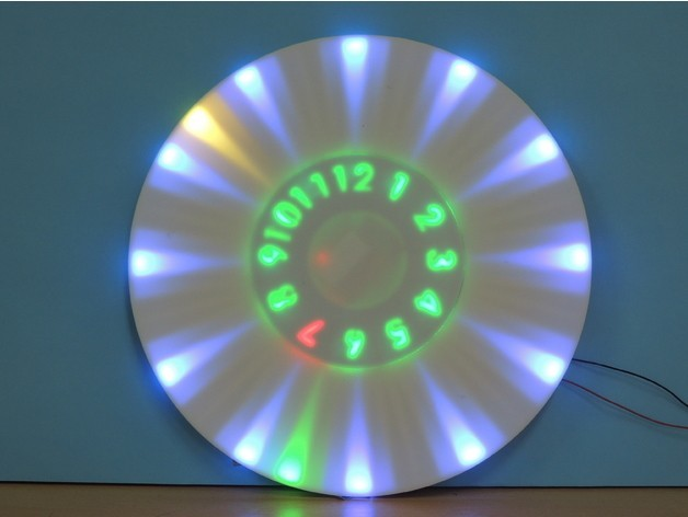 4c32642d583448813c89d3e8d157fb5a_preview_featured.jpg Download free STL file ANIMATED RGB WALL CLOCK • 3D printing model, TheTNR