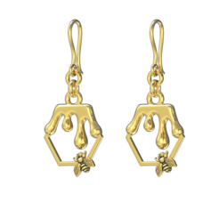 Honey bee Earrings_ (1).png Télécharger fichier STL Collier d'abeilles • Design imprimable en 3D, jagshh