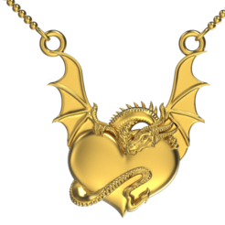 Dragon  Heart  Pendant.png Download STL file Dragon heart Pendant • 3D printable template, jagshh