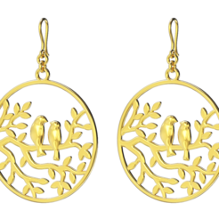Loving Birds earring.png Download STL file Loving Birds earring • 3D printer template, jagshh