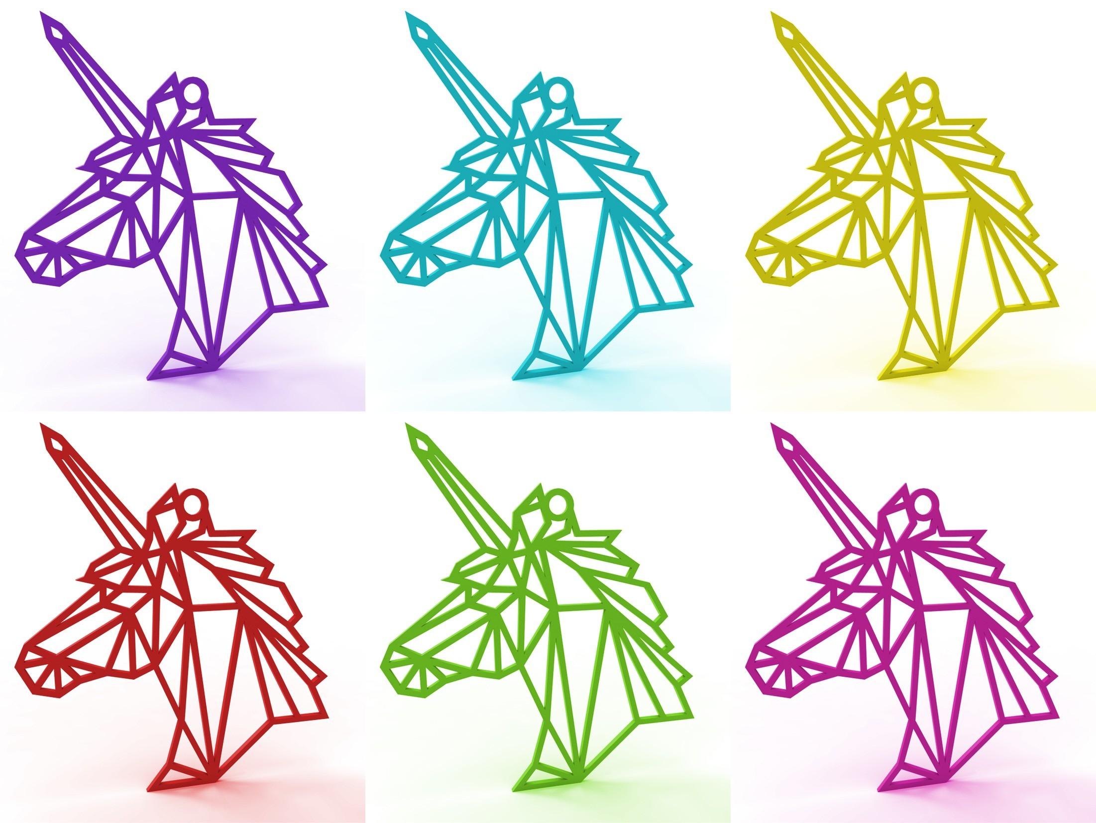 unicorn necklace (colors).jpg Download STL file Unicorn Necklace • 3D printer object, TutoSolid