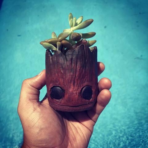 Download 3D printer model Baby Groot Plants Pot, evandrofalleiros