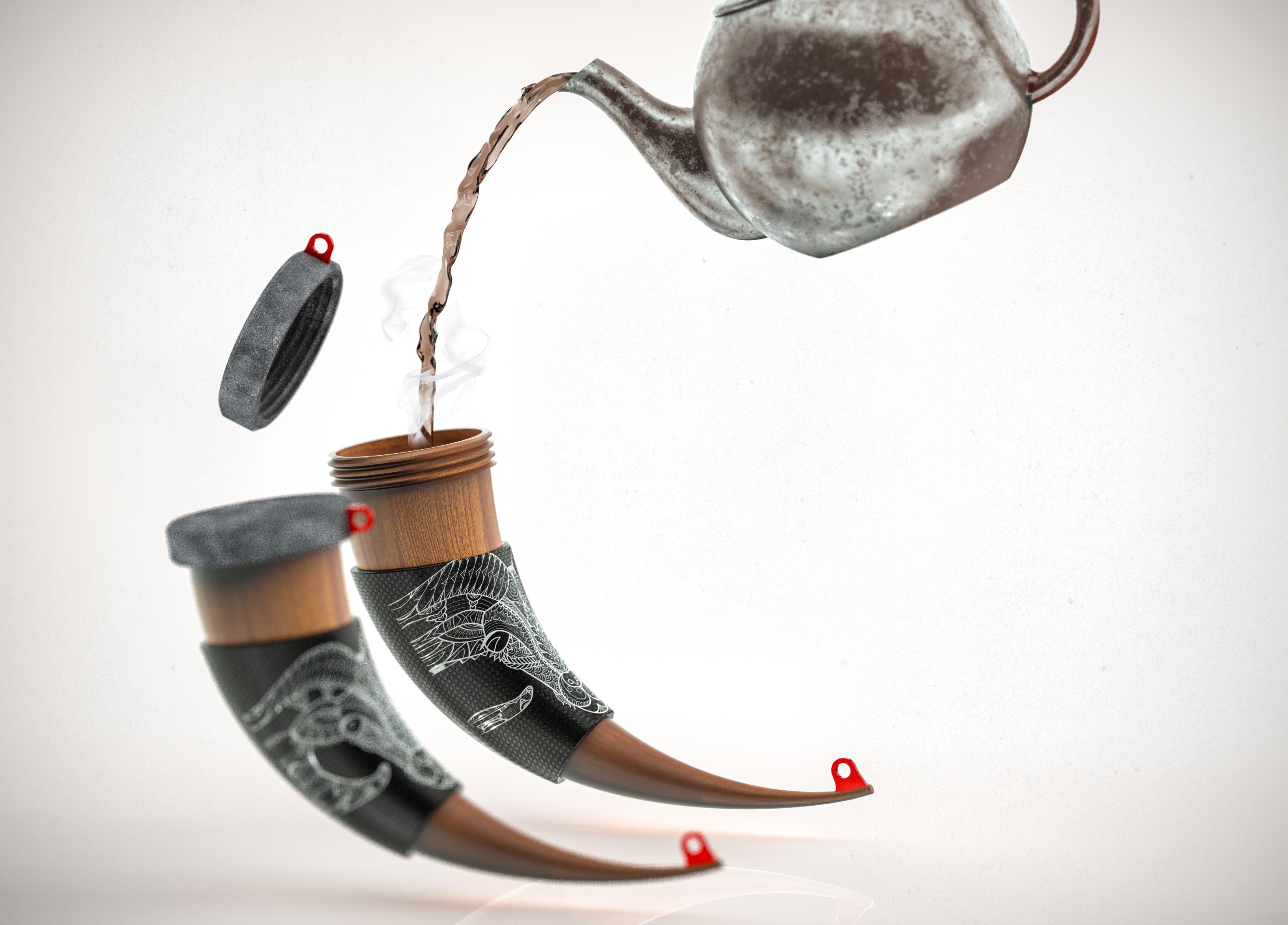 222.png Download STL file Horn Mug • 3D printer object, Dekro