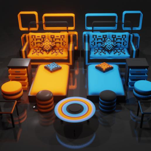 blender_ma8NAMhO2J.png Download STL file Furniture Set • 3D printer object, Dekro