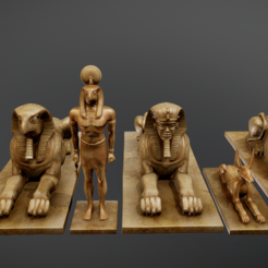 Download 3D model Egyptian Statues, Dekro