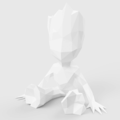 Fichier impression 3D Low Poly Baby Groot, LowPoly512
