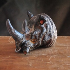 Download 3D printing models Rhino Head Bust - Without or Without Cigar, tolgaaxu