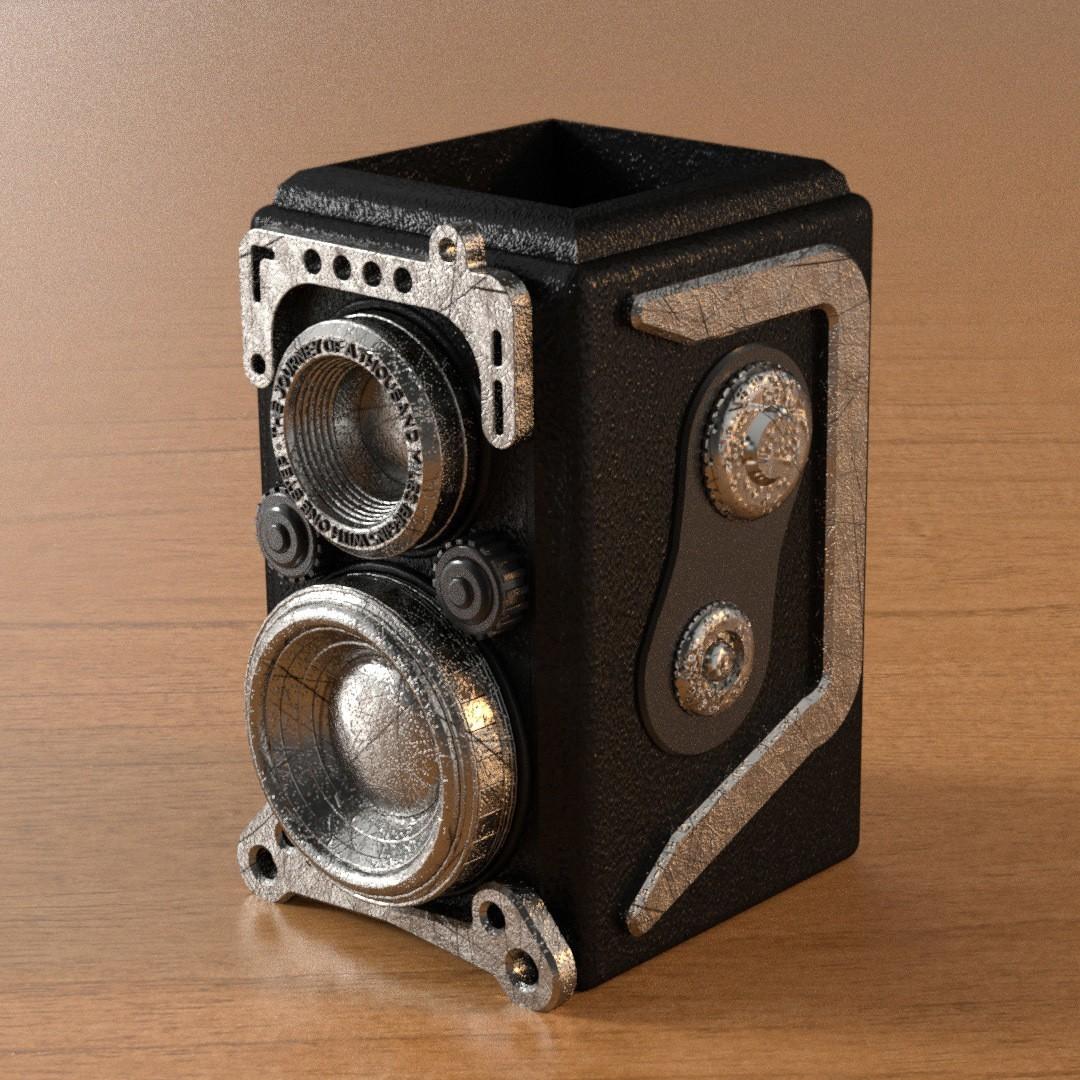3.jpg Download 3DS file RETRO CAMERA FLOWERPOT • 3D printer template, tolgaaxu