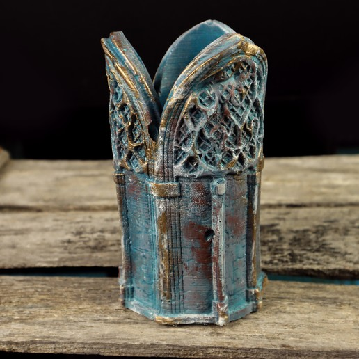 4.jpg Download 3DS file Gothic Candle Holder • Object to 3D print, tolgaaxu
