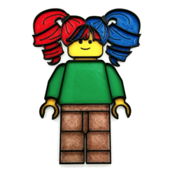 Free STL file Wall Art LEGO Style female (multicolor with single extruder), DasMia