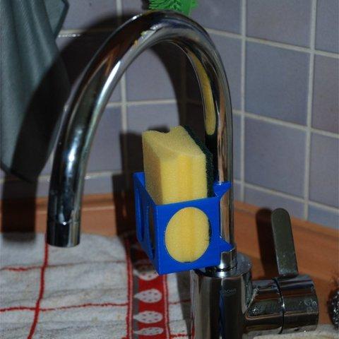 Download free STL file Customizable Sponge Holder for Kitchen Faucet, dede67