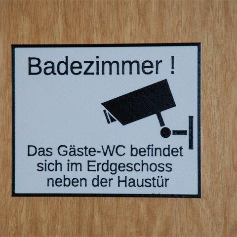 Free 3D model Schild: das Badezimmer ist kein Gästeklo, dede67