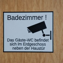 Download free 3D printing templates Schild: das Badezimmer ist kein Gästeklo, dede67