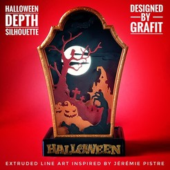 IMG_7974.JPG Download free STL file HALLOWEEN Depth Silhouette Gravestone • Model to 3D print, Grafit