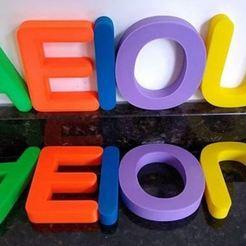 1.JPG Download STL file Vowels fridge magnets • 3D print model, Ushuaia3D