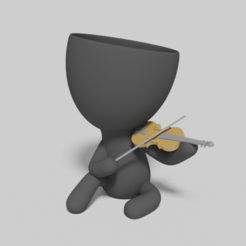 tito con violin.PNG Download STL file planter playing the violin • 3D printable design, brianbhs