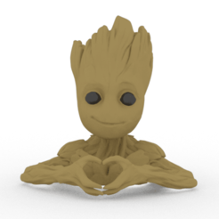 3D print model hands groot heart, brianbhs