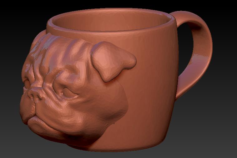 pug taza.png Download free STL file Pug mug • 3D printer model, Marolce19