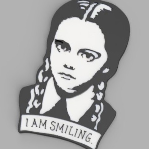 Download 3D printer templates Wednesday Adams - I am smiling, serayirmak