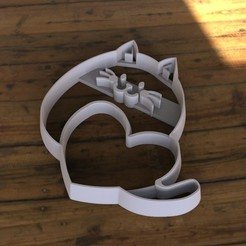 Download 3D printing designs Cat with Heart Cookie Cutter , serayirmak