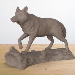 wolf on log.57.jpg Download STL file Wolf on a Log • 3D printing template, JGranite