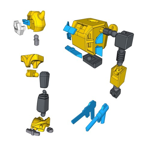 bee_Instruction.jpg Download free STL file ARTICULATED G1 TRANSFORMERS BUMBLEBEE - NO SUPPORT • 3D printing model, Toymakr3D