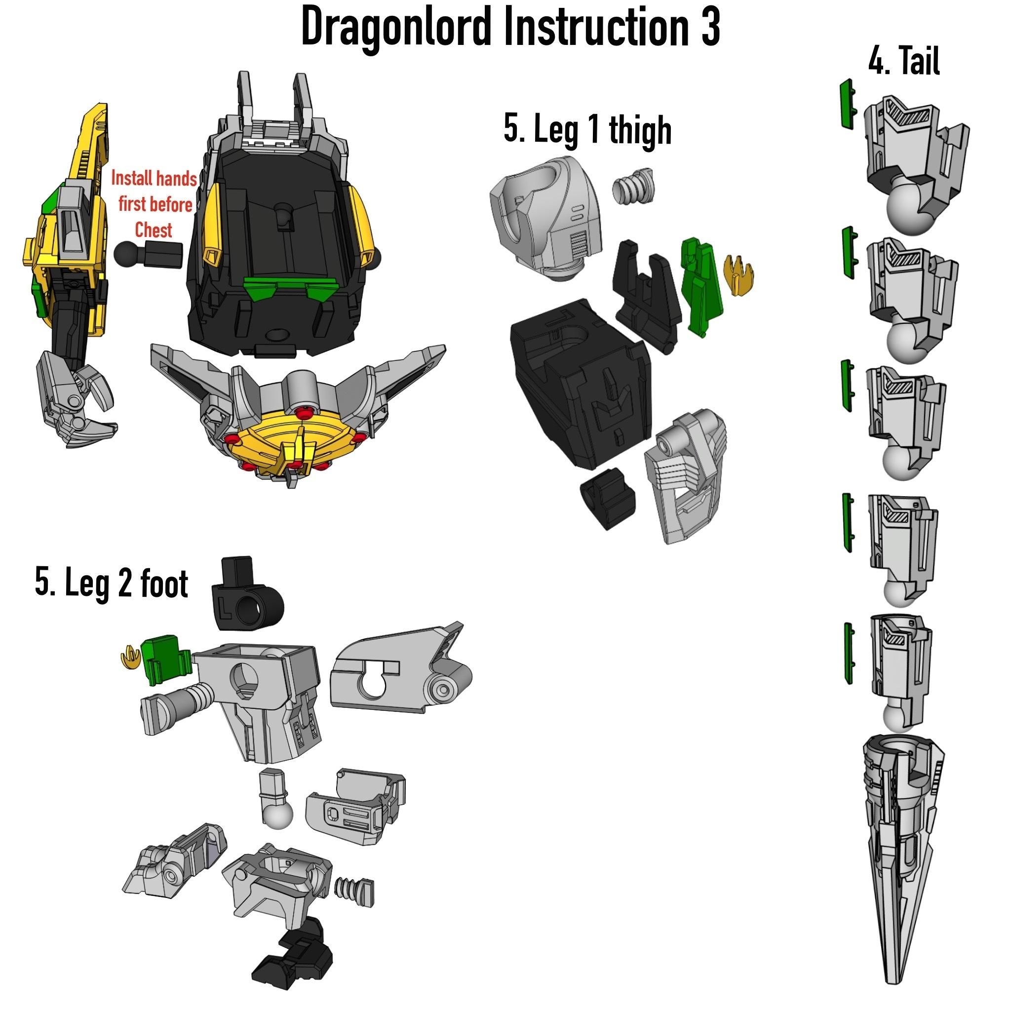Dragon_Istruction3.JPG Download STL file ARTICULATED DRAGONLORD (not Dragonzord) - NO SUPPORT • 3D printer model, Toymakr3D
