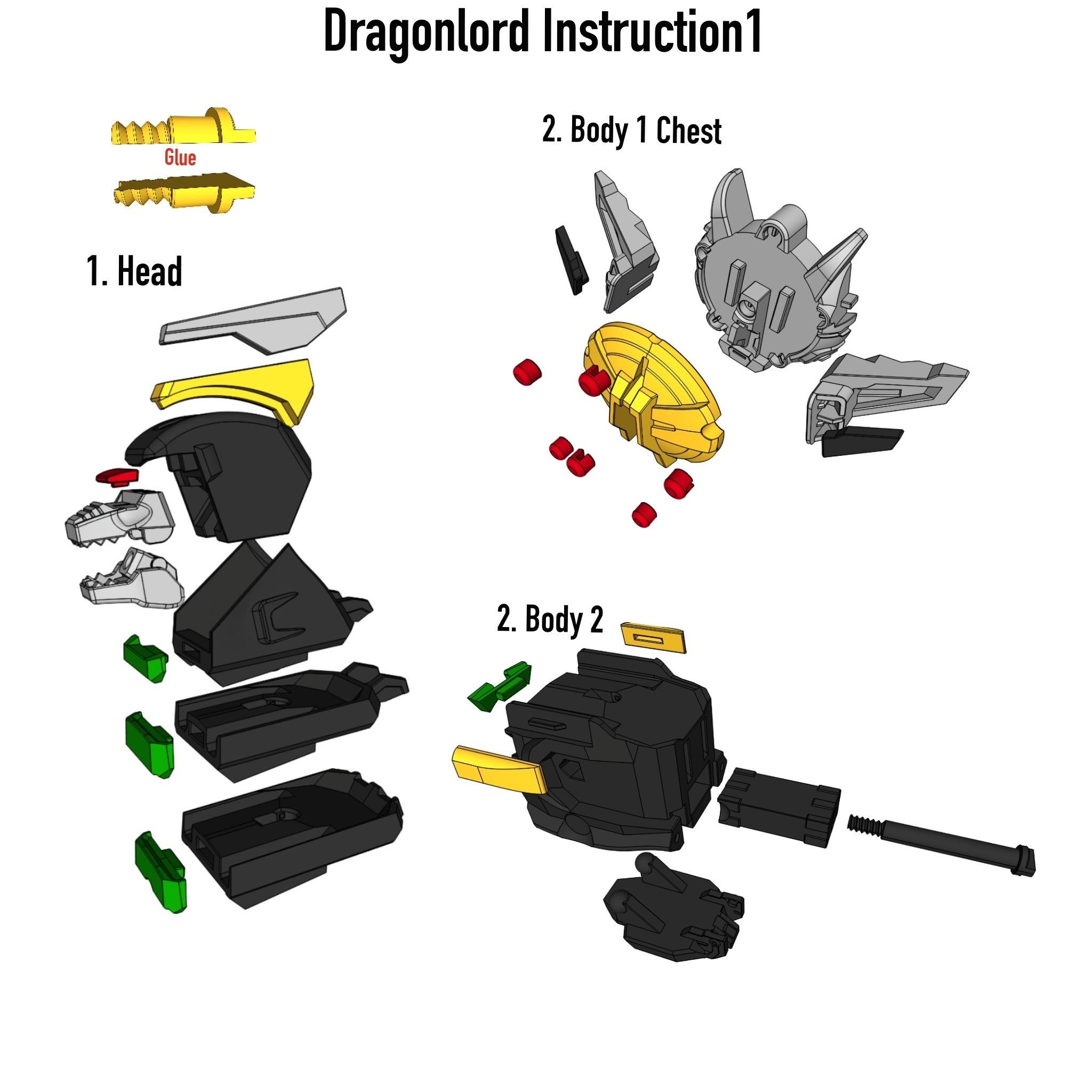Dragon_Istruction1.JPG Download STL file ARTICULATED DRAGONLORD (not Dragonzord) - NO SUPPORT • 3D printer model, Toymakr3D