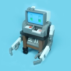 RetroCompRobo_1X1_1.jpg Download free STL file Retro Computer Robo • 3D printing object, Toymakr3D