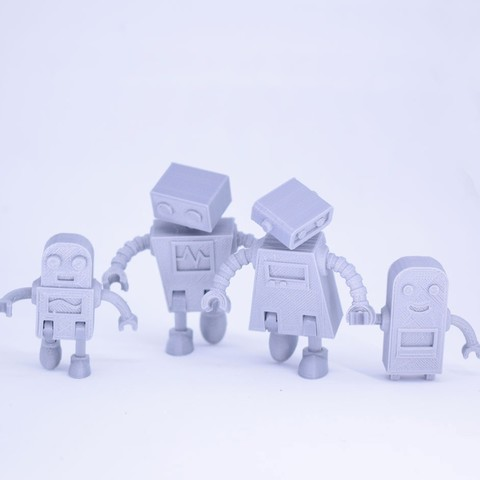 Curls3D2.jpg Download free STL file Robot Family Simple No Support • 3D printable design, Toymakr3D
