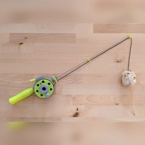Free cat fishing rod toy stl file la poste for Cat fishing pole
