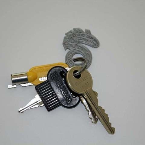 Download free 3D printing files Shadowrun logo key-ring / key-token, plokr