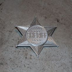 Download free 3D printer templates Sheriff Badge (Star), plokr