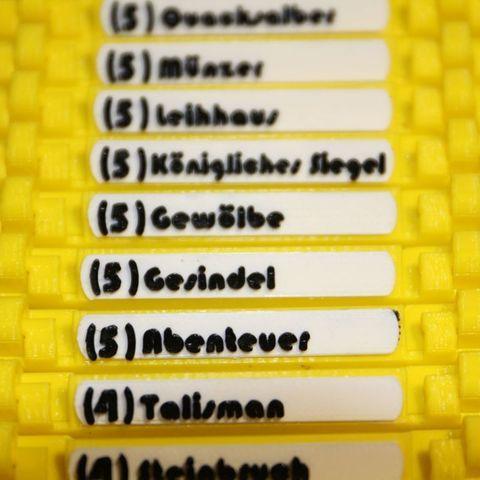 74393b7b686ae7c8933f0bc07b7a778f_display_large.jpg Download free STL file Name Labels / Tags for Dominion Card Cases (German) (Namenschilder Deutsch) • 3D print model, plokr