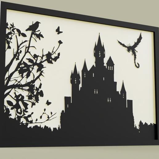 Télécharger fichier STL gratuit Dragon et Chateau - Dragon et Château • Objet à imprimer en 3D, yb__magiic