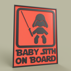 Download free 3D printer designs StarWars Baby Sith On Board Darth Vader, yb__magiic