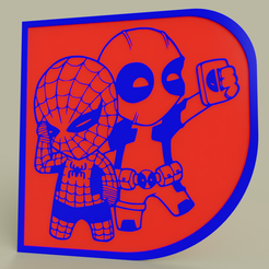 Télécharger STL gratuit Marvel - Chibi Spiderman Deadpool, yb__magiic