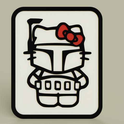 Download free 3D printing files StarWars - Hello Kitty - Boba Fett - Plaque, yb__magiic