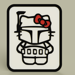 Télécharger STL gratuit StarWars - Hello Kitty - Boba Fett - Plaque, yb__magiic