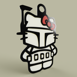 Download free 3D printing models StarWars - Hello Kitty - Boba Fett - KeyChain, yb__magiic