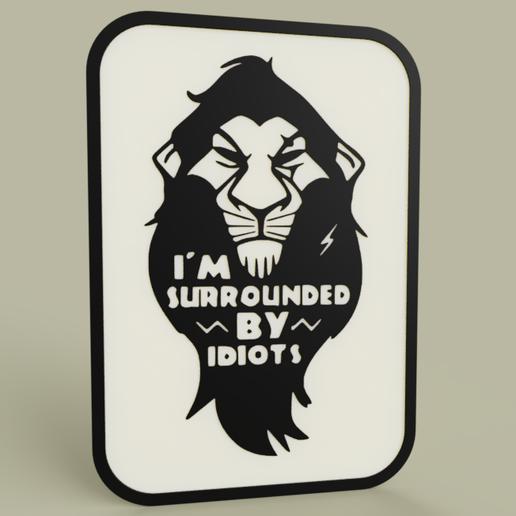 be3c9599-05bb-4256-bbe1-a3a66b2fc6dd.PNG Télécharger fichier STL gratuit Roi Lion - Disney - Scar - Je suis entouré d'idiots • Plan à imprimer en 3D, yb__magiic
