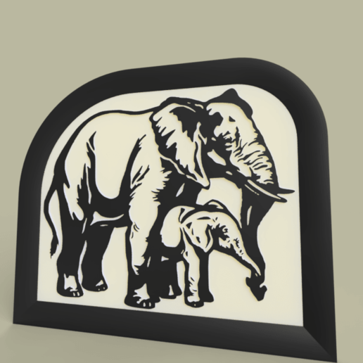 Download free 3D printer files elephant - mother and baby, yb__magiic