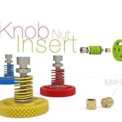 Knob.jpg Télécharger fichier STL gratuit Bouton pour écrou d'insertion M4 H5 • Design imprimable en 3D, perinski
