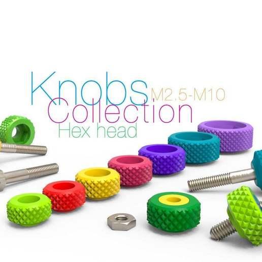 Télécharger fichier STL gratuit Collection de boutons pour boulons à tête hexagonale et écrous M2.5-M10 • Objet imprimable en 3D, perinski
